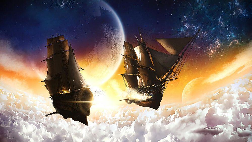 фэнтези картинки парусные корабли в космосе без дизайна