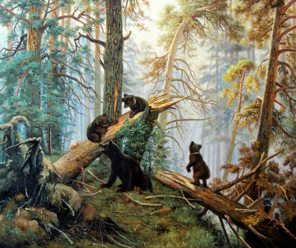 универсальный, обои на рабочий стол три медведя шишкин брюнетка засветилась